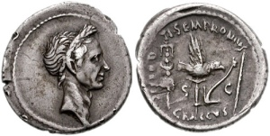 Denarius with portrait of Julius Caesar