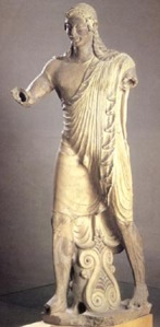 Apollo, from Veii. c.500 BC.  Painted terra-cotta